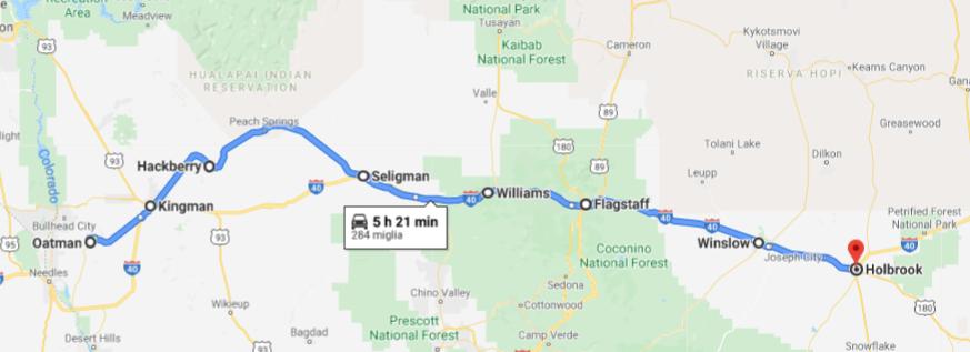 mappa route 66 in arizona